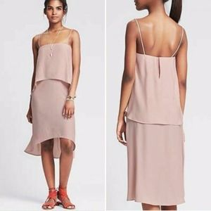 NWT $130 BANANA REPUBLIC Tiered Dress 6 Blush Pink